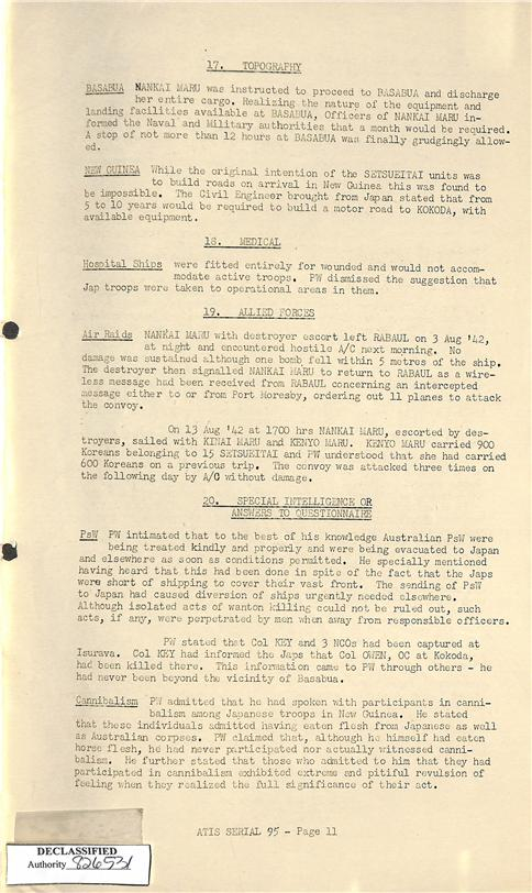 4.) Mention of cannibalism in the Japanese Prisoner of War Interrogation Report, Inagaki, Riichi
