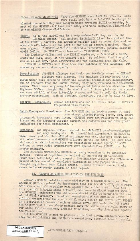 6.) Part on comfort stations in the Japanese Prisoner of War Interrogation Report consisting of German submarine crew members (Prostitution item at the top)