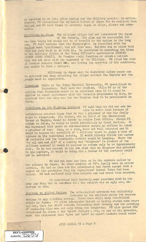 3. 이나가키 포로 심문보고서 중 위안소 언급(밑에서 두 번째 문단)