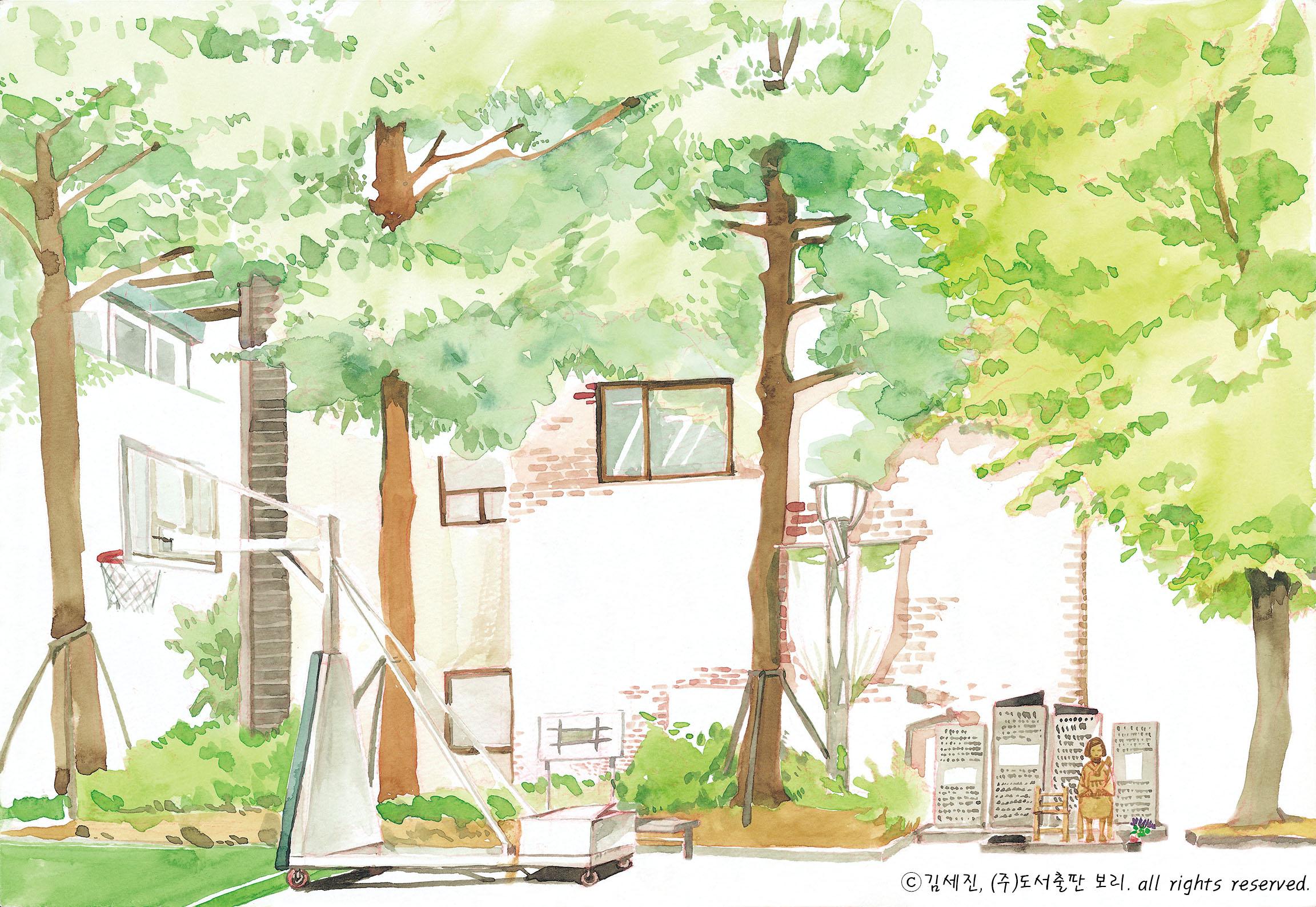 청주시 청소년 광장에 위치한  평화의 소녀상 (그림 : 김세진)