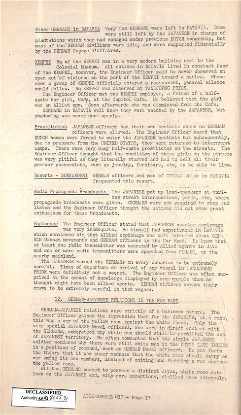 6. 독일 잠수함 승조원 포로 심문보고서 중 위안소 언급 부분(상단  Prostitution  항목)
