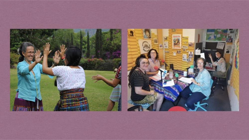 좌: 요란다(왼쪽)와 마야족 여성들 (사진출처: La Juguera Magazine 2016/09/02)  / 우: 페미니스트 레즈비언 라디오 HumedaLES에서 자신의 경험을 이야기하는 요란다(오른쪽 두 번째)  (사진출처: Radio HumedaLES 공식 트위터)