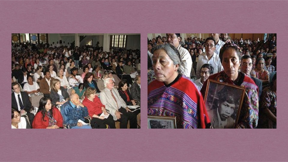 재판 풍경(사진출처 좌: 마쓰이 야요리상 홈페이지, 우: 일본 라틴 아메리카 협력네트워크 홈페이지)
