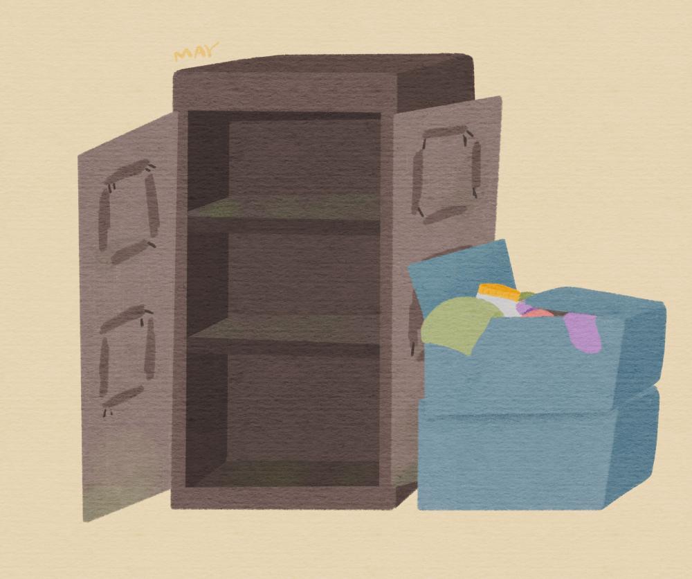 박옥선 할머니의 파손된 장롱과 파란 보관상자 (일러스트: 백정미)