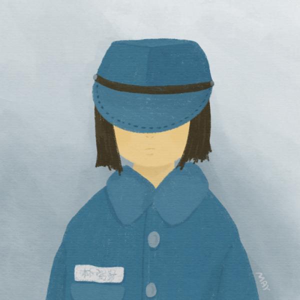 파란군복과 모자를 쓴 어린 박필근 ⓒ백정미