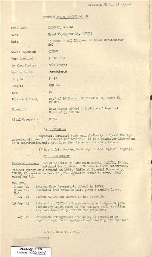 2.) Contents of the Japanese Prisoner of War Interrogation Report, Inagaki, Riichi