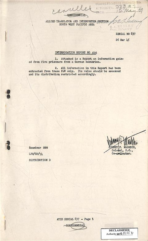 5.) Cover of the Japanese Prisoner of War Interrogation Report consisting of German submarine crew members